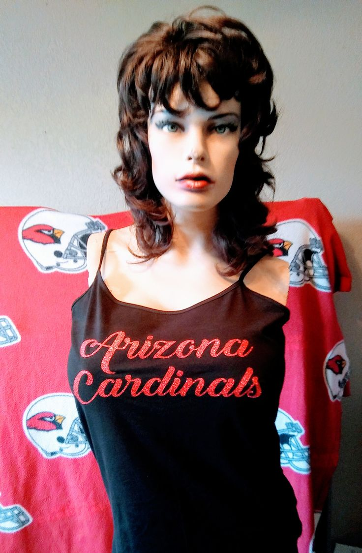 Womens, Arizona Cardinal Red Glitter,NFL,Sports Team Cami,Shirts & Tees