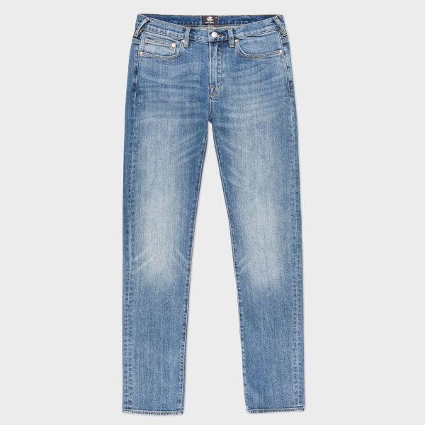 Men's Slim-Fit Japanese Green-Cast Light-Wash Stretch Jeans