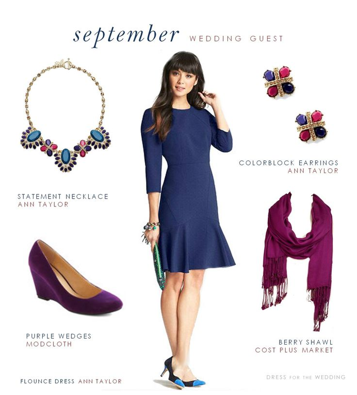 Shopping ideas for how to dress for an outdoor fall wedding.