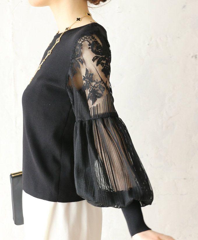 【楽天市場】【再入荷♪7月22日12時&22時より】(ブラック)「french」美しい袖レーストップス:cawaii