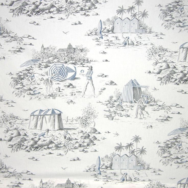 Deauville Toile In Bleu From Old World Weavers/Stark #fabric #cotton #toile