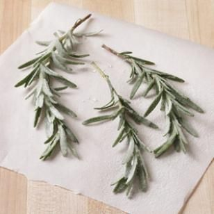 Sugared Rosemary Recipe - used for decorating the Buche de Noel with Cooking Light recipe for sugared cranberries Christmas 2013.