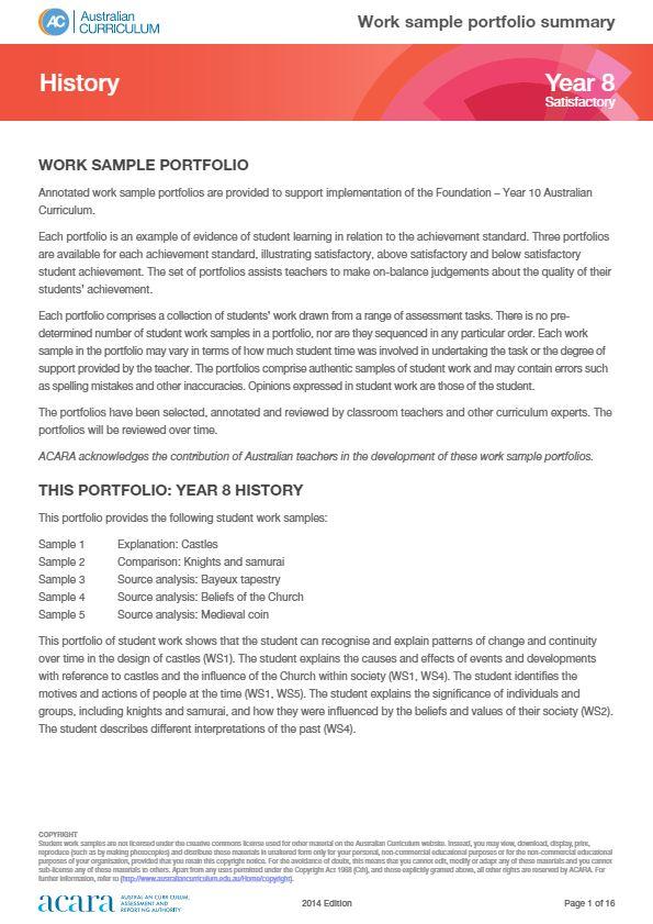 Year 8 History work sample portfolio - satisfactory