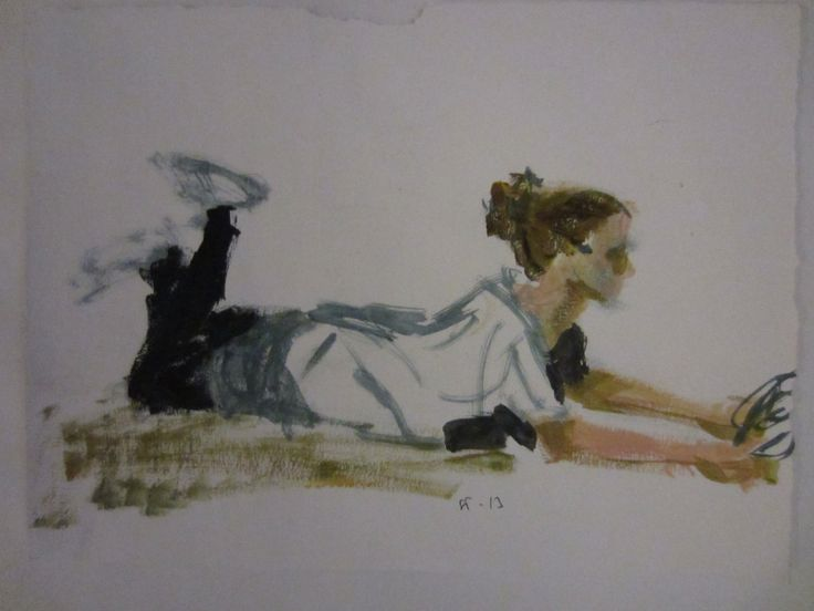 Girl reading, oil study by STarnanen 2013