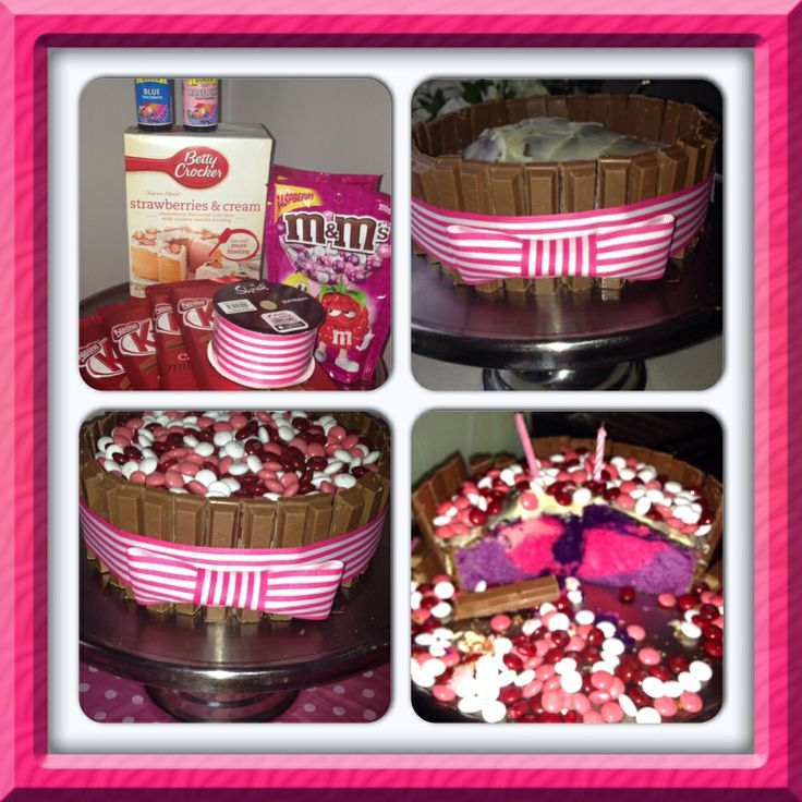 My step daughter's 4th Birthday  Strawberry, pink & purple marble cake with raspberry m&ms & kitkat lining