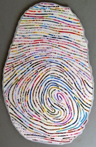 custom thumbprint portraits - cheryl sorg. Three feet in height, they are the person's own thumbprint. The imagery and text are representative of the individual and taken from print books/publications.