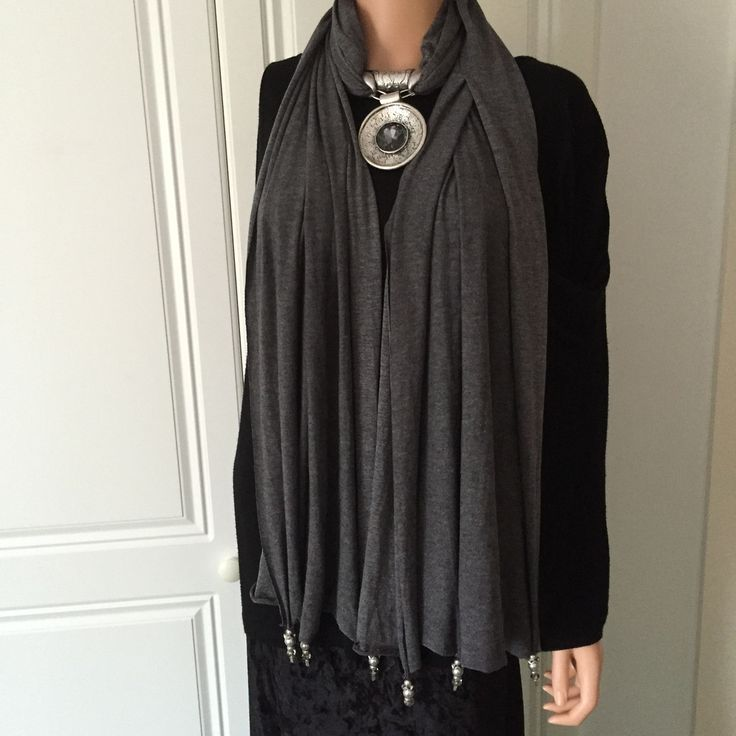 Scarf by Nouvelle of London in Charcoal Grey with Jewellery attached