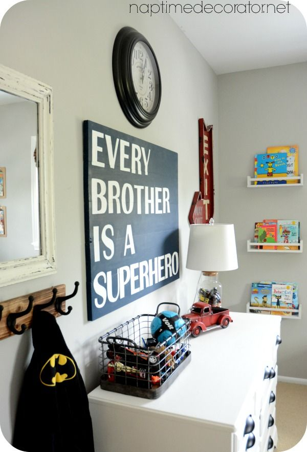 Big Boy Room w/ Cute Fixed-Up Yard Sale Dresser & DIY Superhero Sign