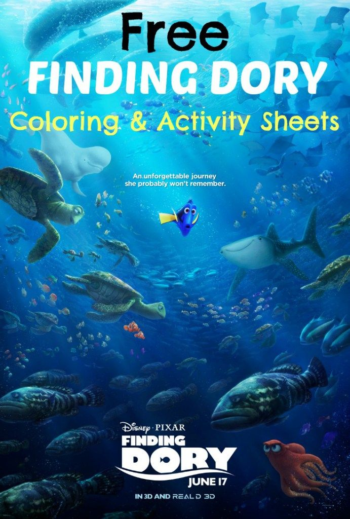 Free downloadable Finding Dory Coloring And Activity Sheets. #FindingDory #HaveYouSeenHer