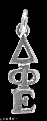 Delta Phi Epsilon Sterling Silver Greek Drop Letter Lavalier Classic Pendant NEW