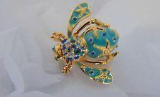 Новые Джоан Риверс Золотая Звезда рыба пчела ЗАКОЛКА Жук брошь эмаль синий кристалл со стразами