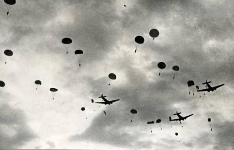 Second World War. Airplanes and parachutes above Crete [German paratroopers from JU 52 cargoplanes]. Greece Crete 1941
