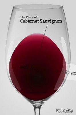 Color of Cabernet Sauvignon in a wine glass