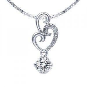 Heart Shape Diamond Pendant on 10k White Gold