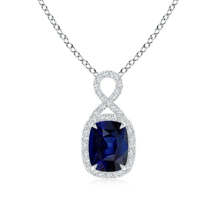 Angara 8x6mm Pear Blue Sapphire Diamond Necklace in 14k Yellow Gold