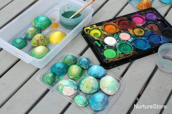 Shell painting :: beach theme art - NurtureStore