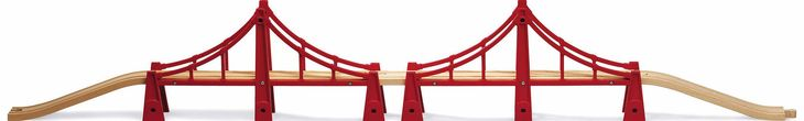 BRIO double suspension bridge Over 1m 3 5 feet of fun The longest BRIO bridge in a play friendly design with side integral bridge http://www.comparestoreprices.co.uk/educational-toys/brio-double-suspension-bridge.asp