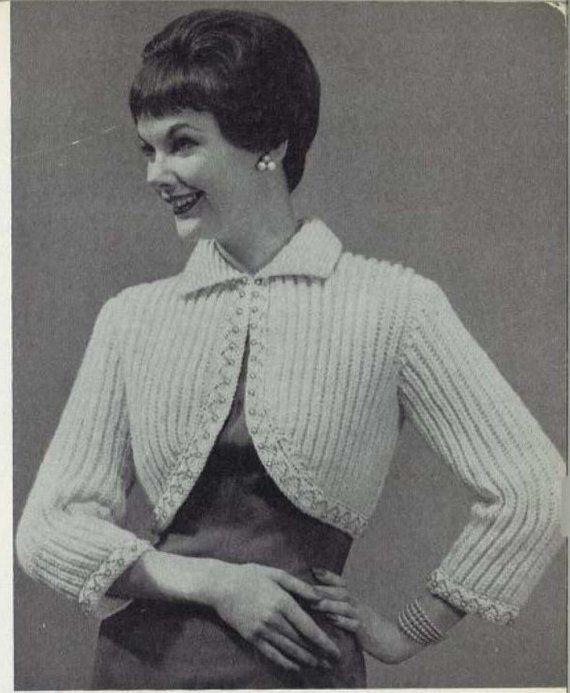 Vintage Knitting PATTERN Bolero Shrug Bed Jacket Sweatr