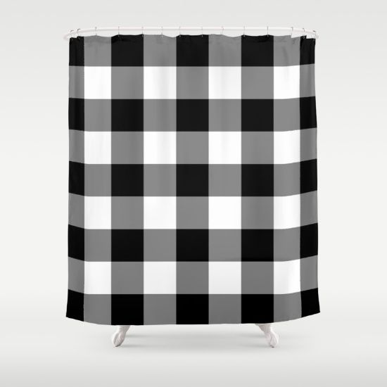 Buy Shower Curtains featuring Black and White Buffalo Plaid by Sutton Place Designs. Made from 100% easy care polyester our designer shower curtains are printed in the USA and feature a 12 button-hole top for simple hanging.