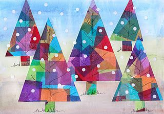 1. Cut up pieces of colored tissue paper. Glue them onto a sheet of white paper. 2. Cut this sheet of paper into triangles to make the trees. 3. Paint another sheet of paper with three stripes of watercolor. 4. After the watercolor has dried, glue the trees onto this paper. 5. With marker draw branches and grass. 6. Use a paper punch to cut out white snow.
