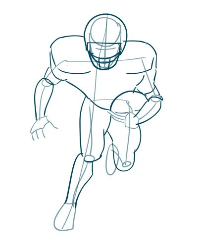how to draw a football player step 3 thicken up the form