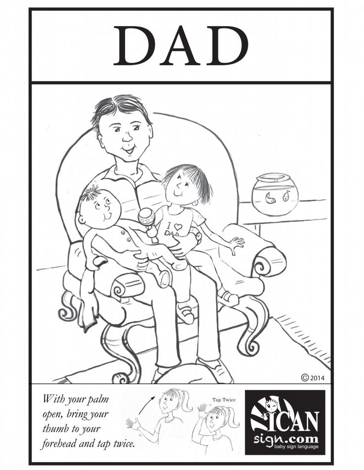 baby sign language flashcard dad black and white