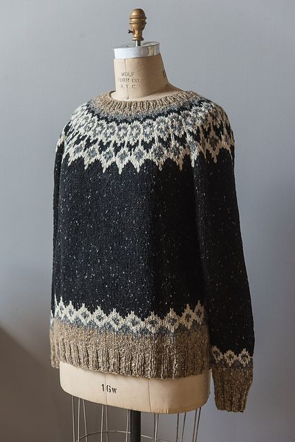 "The sleeves and body of St. Brendan are knit in the round, then joined at the underarm. The sweater is designed and sized to be unisex. For a woman's sweater, you may wish to check the sleeve length after all increases are worked in order to shorten the sleeve length. The yoke is worked in the round, and finished with a simple K1, P1 Ribbing. The sample size shown is the 38"" (96.5), shown on a model with a 34"" (86 cm) bust."