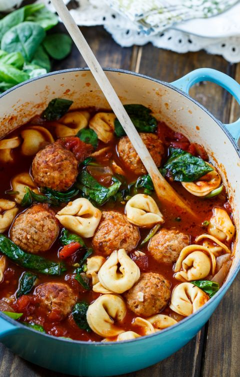 Meatball and Tortellini Soup with spinach.