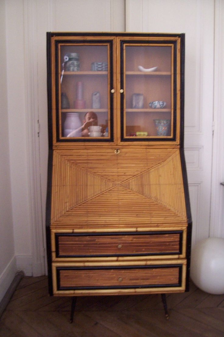 Meuble bureau secretaire vitrine vintage 1950 era gascoin for Meuble bureau 1950