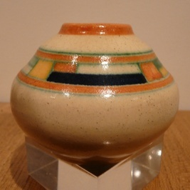 """ART DECO KENNEMER POTTERIJ BLOKJES. A vase from the north of Holland. It dates from 1929-1932. It was painted by JG van Vliet on a design by Elke Snel. At the time these vases were very avant-garde and are part of the De Stijl movement in the Netherlands. The influence of Mondriaan can be seen in those blocked shapes of colour that the Dutch call """"blokjes"""". It is small only 7cm tall. But it is one of my favourites!"""