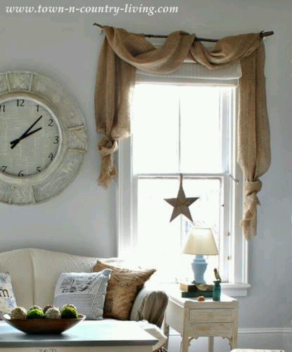 Simple but effective burlap valance. Do something very similar in the living room