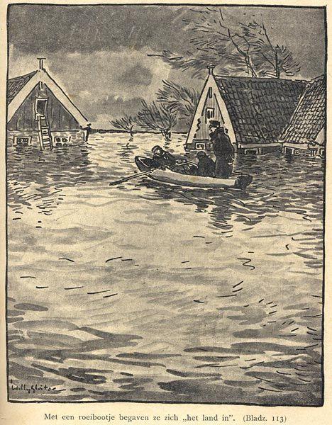 Het boek van H. Gras, De dijk bezweken, gaat over de avonturen van twee 'Hollandsche jongens' tijdens de watersnood. Willy Sluiter verzorgde de illustraties.  H. Gras beschrijft de belevenissen van de jongens Piet en Klaas in Waterland tijdens de watersnood van 1916. De jongens weren zich als volwassenen in de strijd tegen het water. Hun grootste heldendaad is de redding van een onderkoelde vreemdeling. De beloning hiervoor is een studiebeurs om een opleiding naar keuze te volgen.