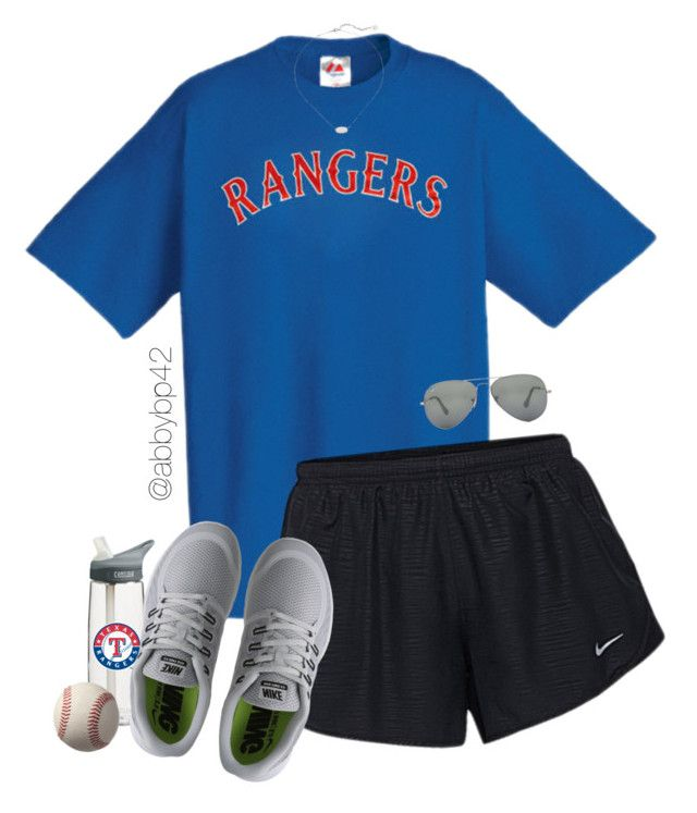 """Went to a Rangers game today!❤️⚾️"" by abbybp42 ❤ liked on Polyvore featuring Majestic Athletic, NIKE, CamelBak, Ray-Ban, Kendra Scott and summertime"