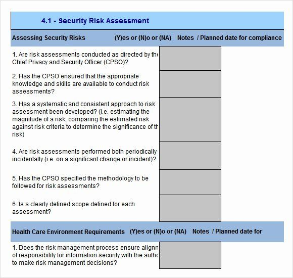 Security Risk Assessment Template In 2020 Assessment Document