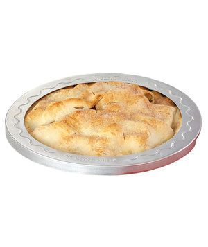 Skip the tented foil: this professional-quality nonstick barrier fits snugly over a 9-inch or 10-inch pie, stays in place during baking, and lifts off easily. Not only does it prevent the crust from burning, but also helps it bake to an even golden-brown. Dishwasher safe.