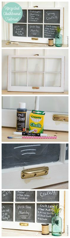 I love the idea of making a DIY chalkboard. They always fit into any home decor and are so inexpensive to do. it's a perfect project to do with an old frame or window.