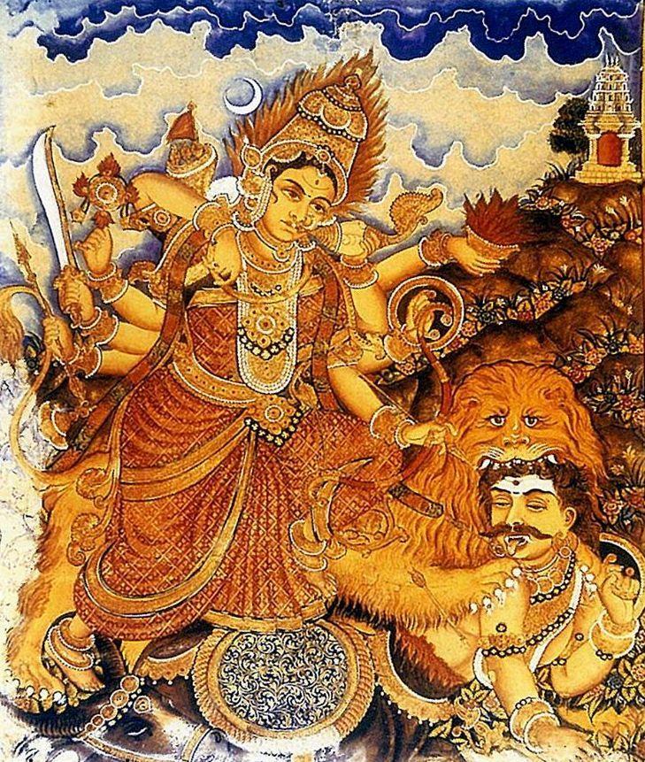 Durga, Mysore style painting