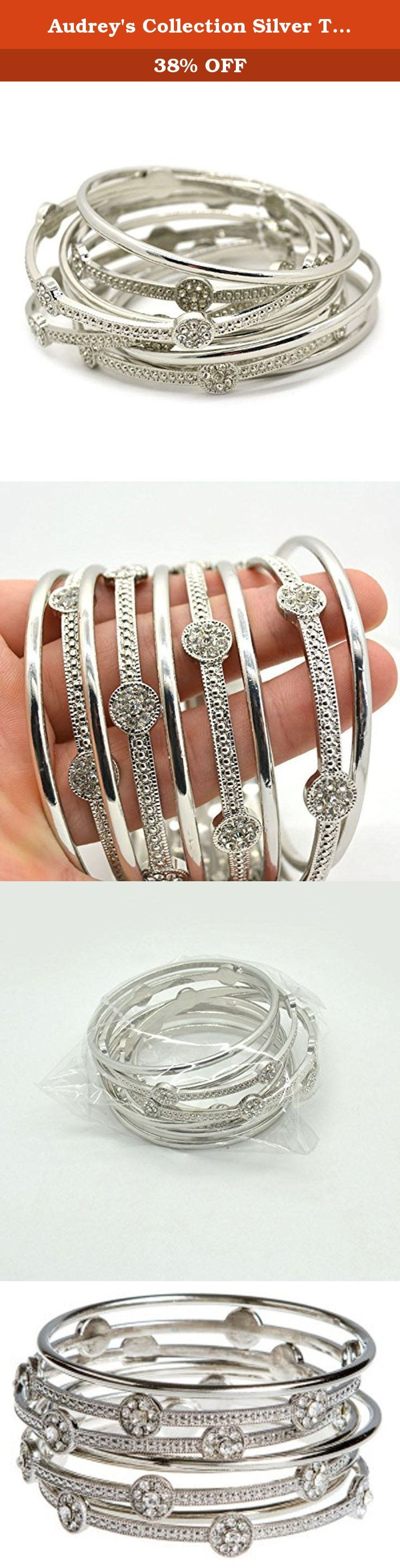 Audrey's Collection Silver Tone 9 Stack Sparkly Women Bangle Bracelets Plus Size 3 Inches in Diameter. * Wear all bangles together for an on trend stacked look or separate the bracelets as you wish. * Four of these elegant cyrstal bracelets are embellished with clear crystal pavé for a hint of sparkle. * Plus Size Bracelets 3 Inch in Diameter. * This is a beautiful piece of jewelry to own. The crystals are very sparkly and eye catching. * Treat yourself or someone special to these…