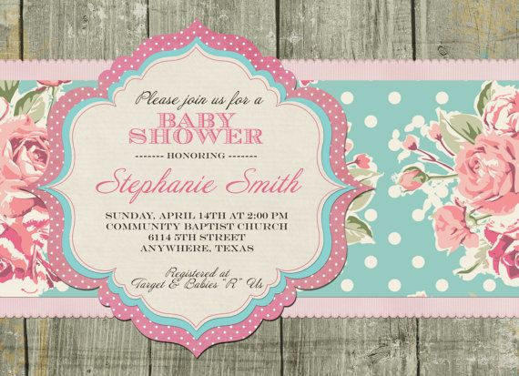 Shabby Chic Baby Shower Invitation On Etsy, $12.00