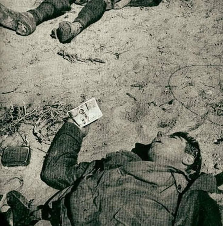 La foto di un soldato italiano morto in Africa del nord durante la seconda guerra mondiale. Nella mano del soldato è visibile la foto del figlio, probabilmente l'ultima cosa che voleva vedere.   La foto venne scattata da un soldato inglese.