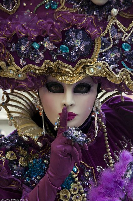 "Carnevale di Venezia 2012...love the wickedly beautiful costume and the suggestive finger at her mouth. Is she saying, ""Shh.  Don't tell.  It's our secret."" ?"