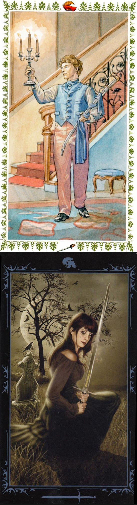 Page of Swords: new mental adventure and overenthusiasm leading to rushed/poor planning (reverse). Romantic Tarot deck and Dark Fairytale Tarot deck: real free tarot reading, free tarot card reading 2016 and internet tarot reading.