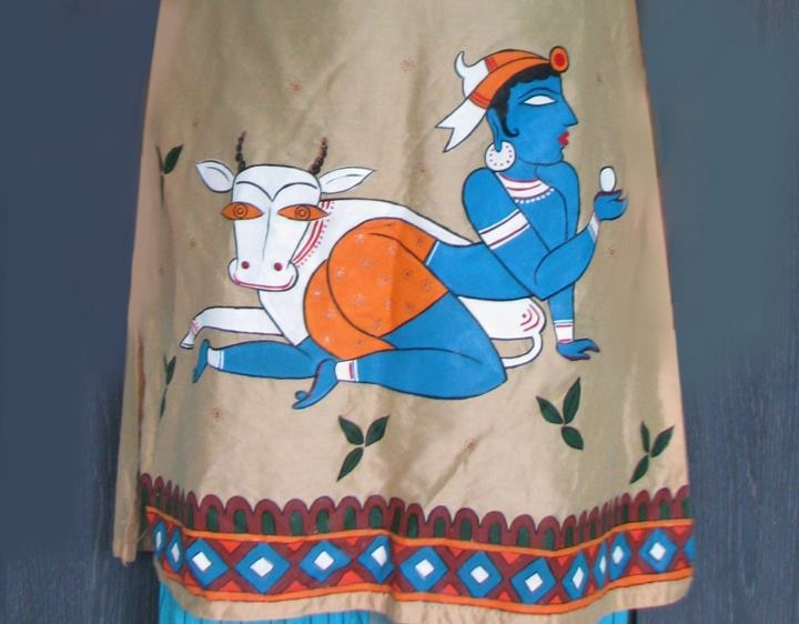 jamini roy painting on cotton silk kurta