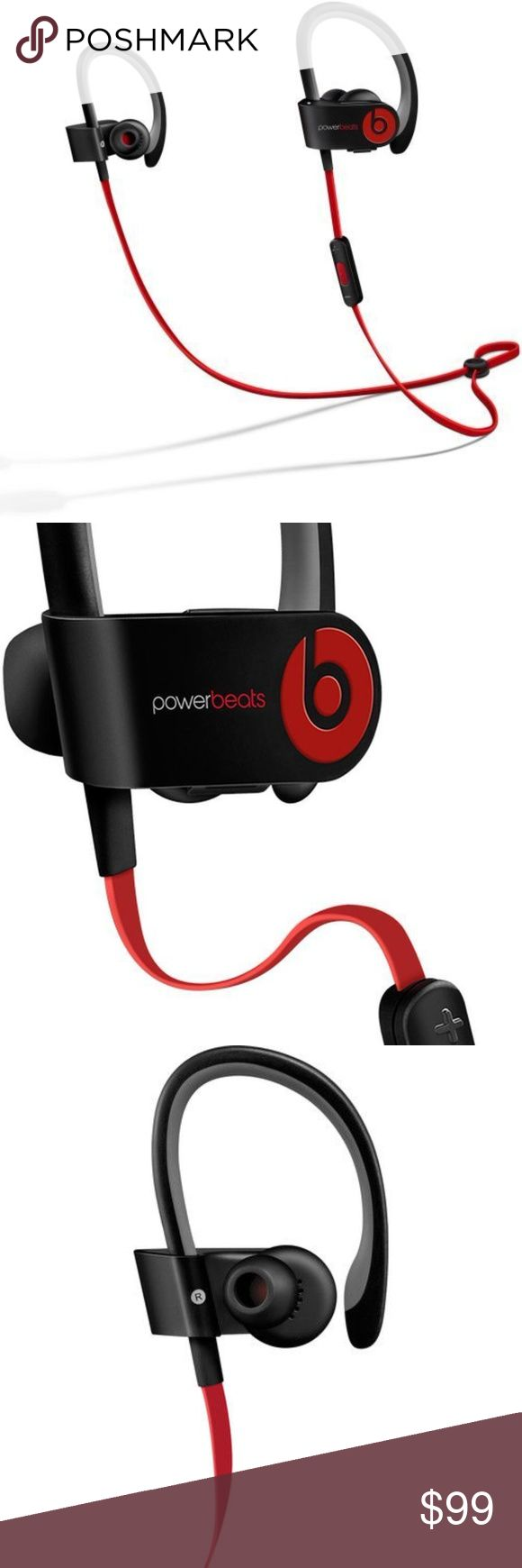 Powerbeats2 Like New- Comes with everything pictured.   Unopened ear pieces.  Beats by Dr Dre - Powerbeats² : These workout headphones are crafted to keep up with your active routine. The no-slip design of the call answer button ensures phone calls won't be missed, and music can be easily cycled through. Connect Via Bluetooth Beats by Dre Accessories