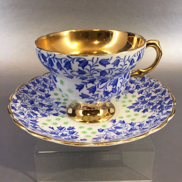 Vintage Rosina Tea Cup and Saucer in pretty blue and white pattern with gold gilt cup interior and edges. English Bone China Teacup - England