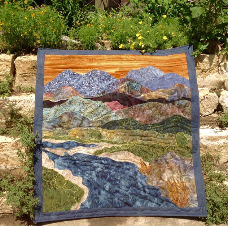 """""""Mountain Sunset"""" (45"""" x 48"""") created, pieced and quilted by Pat Hopf for David"""