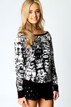 Aria Splash Print Rib Trim Sweat Shirt