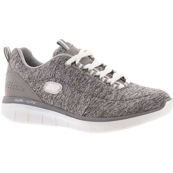 Skechers Sport Synergy 2.0 12365 Women's Grey Sneaker 6 M (1,260 MXN) ❤ liked on Polyvore featuring shoes, sneakers, grey, gray shoes, gray sneakers, grey trainers, laced up shoes and laced shoes