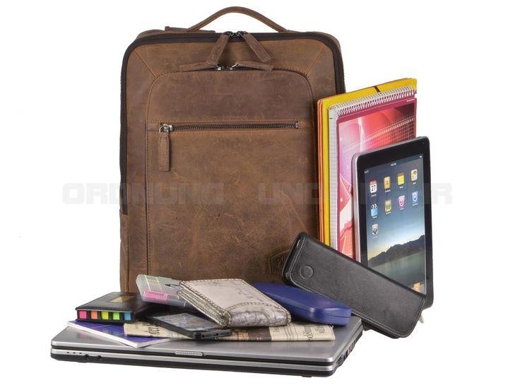 Pride & Soul JESTER - Leder Laptop-Rucksack Business-Rucksack - vintage braun 47199