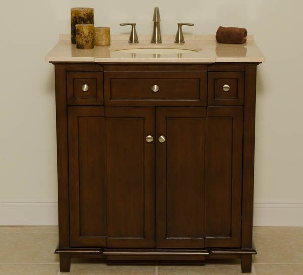 Abel 34 Inch Bathroom Vanity Brown Cabinet With Cream Marble
